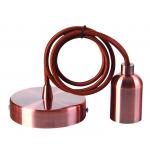 Douille cuivre E27 + support et 2m cordon noir