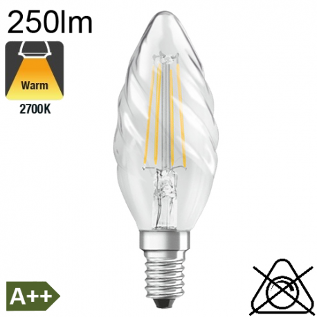 Flamme torsadée LED E14 250lm 2700K