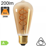 Edison ST64 Twisted Ambrée LED E27 200lm 2000K Dimmable