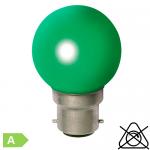 Sphérique LED B22 1W Vert
