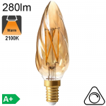 Flamme Torsadée Ambrée LED E14 280lm 2100K Dimmable
