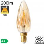 Flamme Torsadée Ambrée LED E14 200lm 2700K