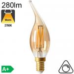 Flamme Coup de Vent Ambrée LED E14 280lm 2700K Dimmable