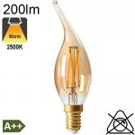 Flamme Coup de Vent Ambrée LED E14 200lm 2500K