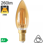 Flamme Ambrée LED E14 260lm 2700K Dimmable