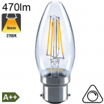 Flamme LED B22 470lm 2700K Dimmable