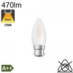 Flamme Dépolie LED B22 470lm 2700K