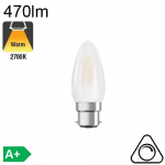 Flamme Dépolie LED B22 470lm 2700K Dimmable