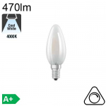 Flamme Dépolie LED E14 470lm 4000K Dimmable