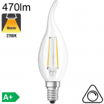 Flamme Coup de Vent LED E14 470lm 2700K Dimmable
