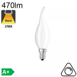 Flamme Coup de Vent Dépolie LED E14 470lm 2700K Dimmable