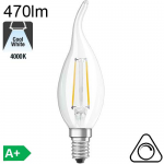 Flamme Coup de Vent LED E14 470lm 4000K Dimmable