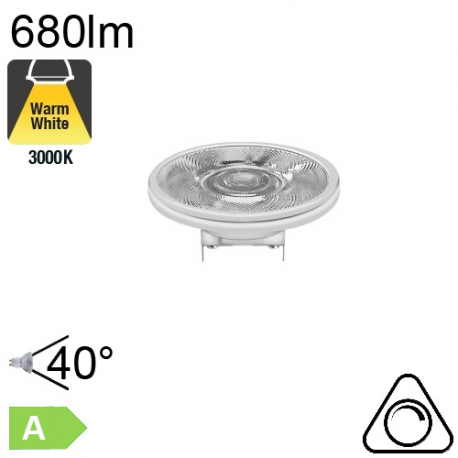 AR111 LED G53 680lm 40° 3000K Dimmable