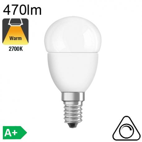 Sphérique LED E14 470lm 2700K Dimmable