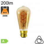 Edison Twisted Ambrée Filament LED B22 4W 200lm 2000K Dimmable