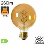 Globe Twisted Ambrée LED Ø125 E27 260lm 2000K Dimmable