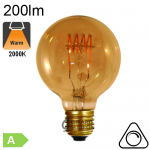 Globe Ø80 filament Loops LED E27 200lm 2000K Ambré Dimmable