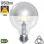 Globe Calotte Argentée Ø95 Filament LED E27 8W 950lm 2700K Dimmable