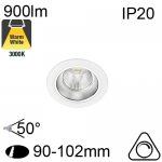 Encastré Led RIVA IP20 10W 900lm 3000K Dimmable