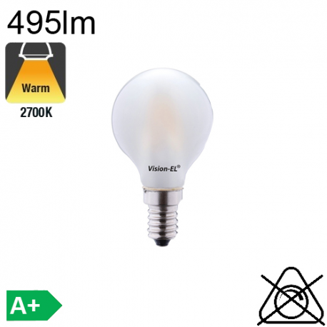 Sphérique Dépolie LED E14 470lm 2700K